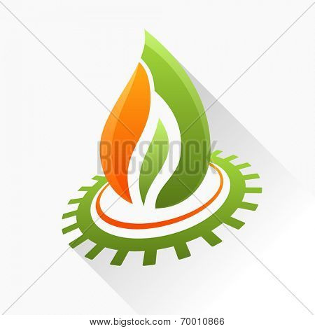 Vector symbol fire with gear. Green and orange flame glass icon with long shadow isolated