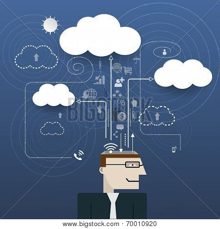 Businessman With Cloud Computing Network Information Space