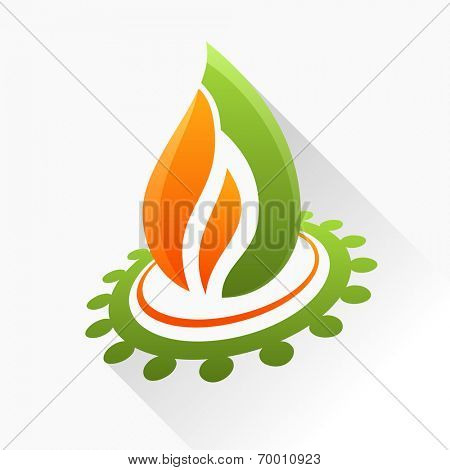 Vector symbol fire with gear. Orange and green flame glass icon with long shadow isolated