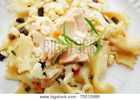 Tuna Fish On Top Of Bowtie Pasta Salad