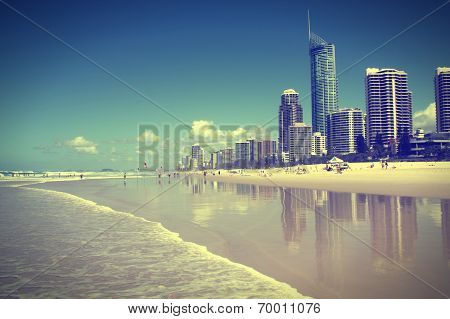Waterfront skyline with famous Q1 skyscraper - Surfers Paradise city in Gold Coast region of Queensland Australia. Cross processed color tone - retro filtered style. poster
