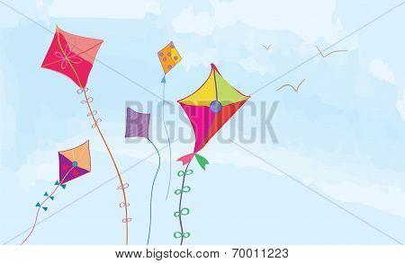 Banner with sky kites and birds horizonta