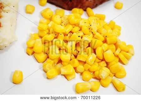 Yellow Corn Served As A Side Dish