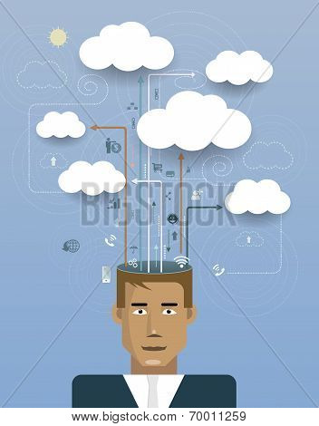 Businessman With Cloud Computing.Network Information Space