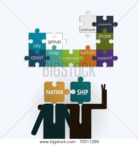 Businessman With Partnership Text On Puzzle Jigsaw