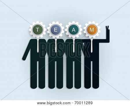 """Businessman With """"TEAM"""" Letter On Gear"""