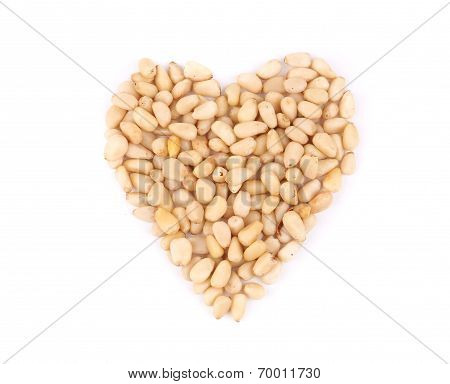 Heart shape from pine nuts.