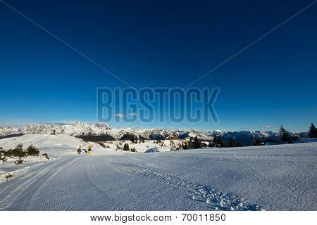 Morning On A Ski Slope Of Dolomiti, Italy