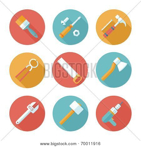 Trendy flat working tools icons. Vector illustration