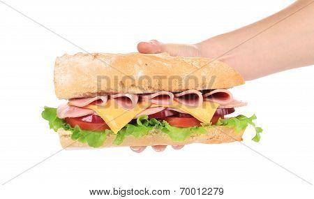 Big fresh sandwich in hand.