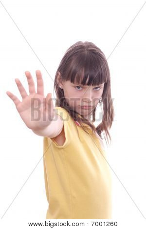 The Child Does Stopping Movement By A Hand