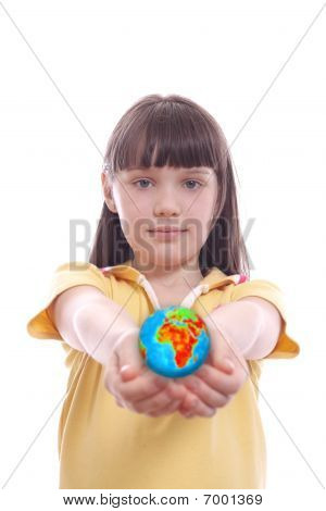The Child Keeps Globe In Palms