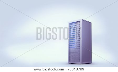 poster of Digitally generated server tower on white background