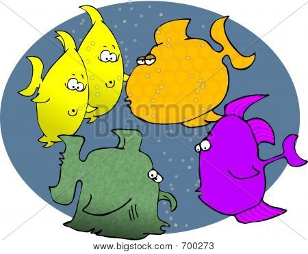 This illustration depicts a group of comical fish. poster