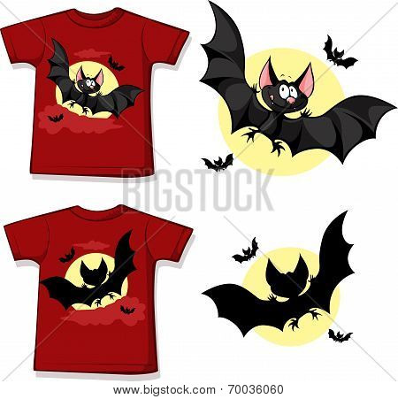 Kid Shirt With Cute Vampire Printed - Isolated On White
