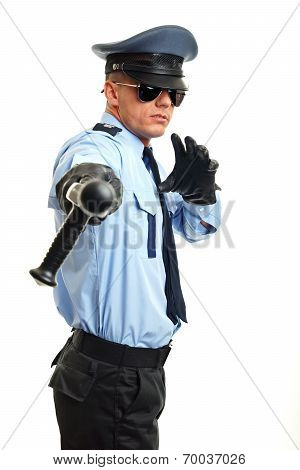 Policeman shows on you