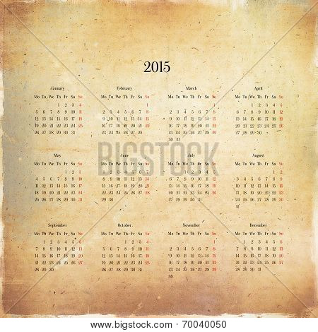 Calendar 2015 In The Retro Style, Vintage Background