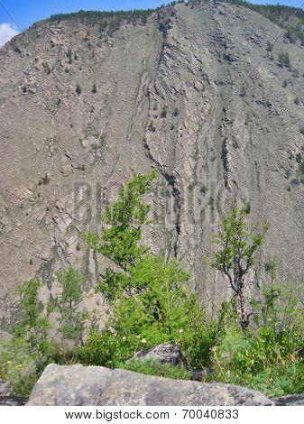 Nature Of Lake Baikal. Outcrop Of Rocks