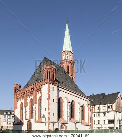 Famous Old Nikolai Church In Frankfurt At The Central Roemer Place