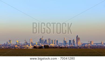 Panorama Of Frankfurt Skyline By Night