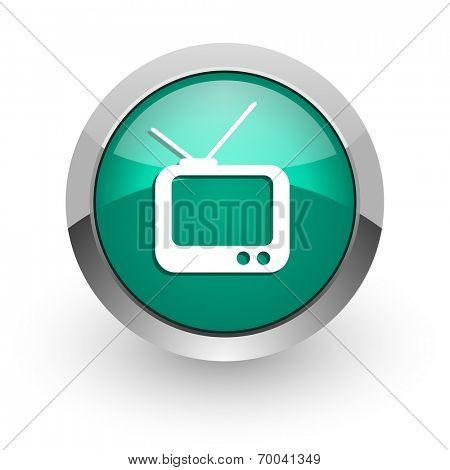 tv green glossy web icon