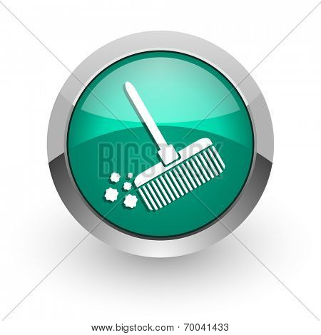 broom green glossy web icon