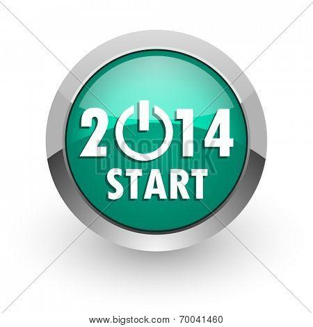 year 2014 green glossy web icon