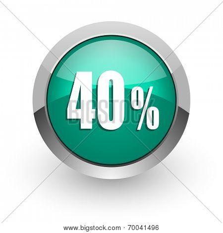 40 percent green glossy web icon