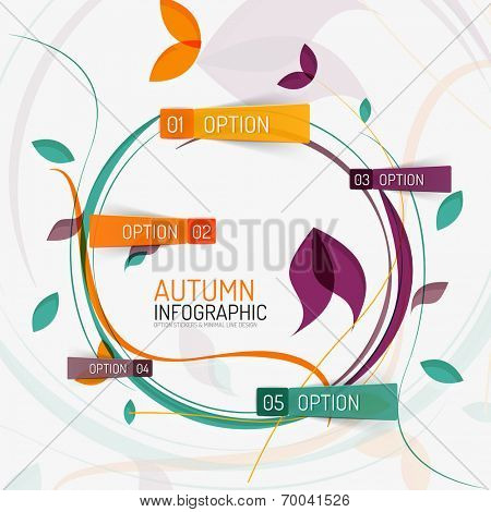 Vector floral design swirl autumn infographic report, banner with options on stickers, abstract flying leaves and sample text