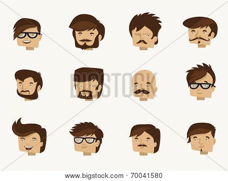 12 Hipster faces - flat design character set