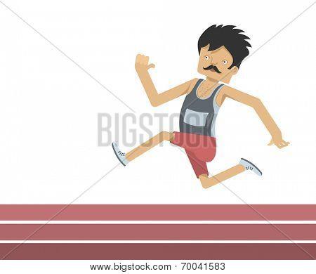 running athlete - flat design character - sports vector illustration