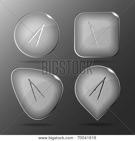 Caliper. Glass buttons. Vector illustration.
