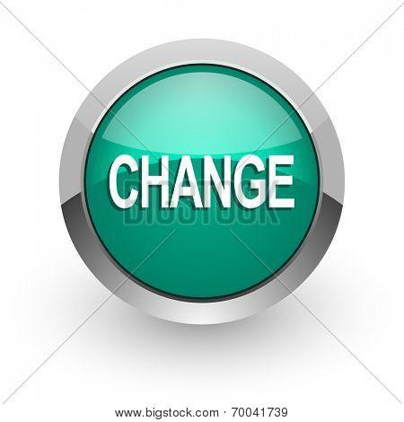 change green glossy web icon