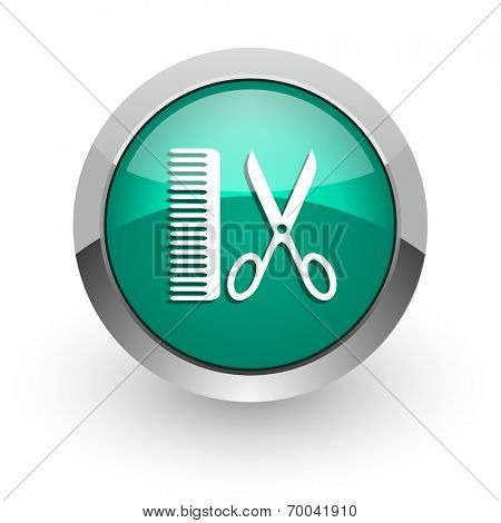 barber green glossy web icon