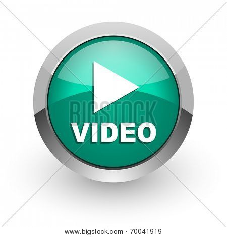 video green glossy web icon