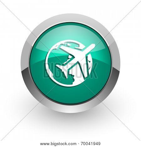 travel green glossy web icon