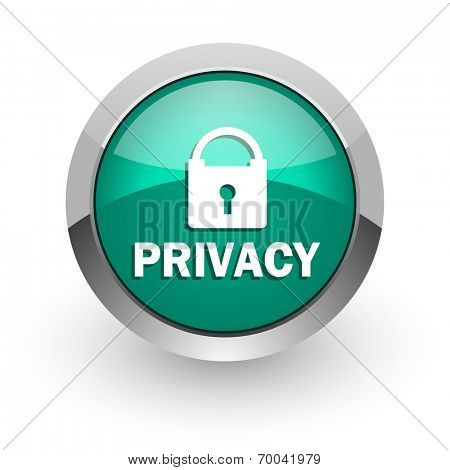 privacy green glossy web icon