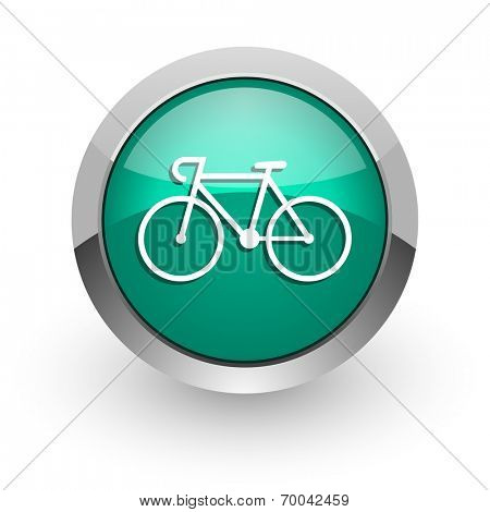 bicycle green glossy web icon