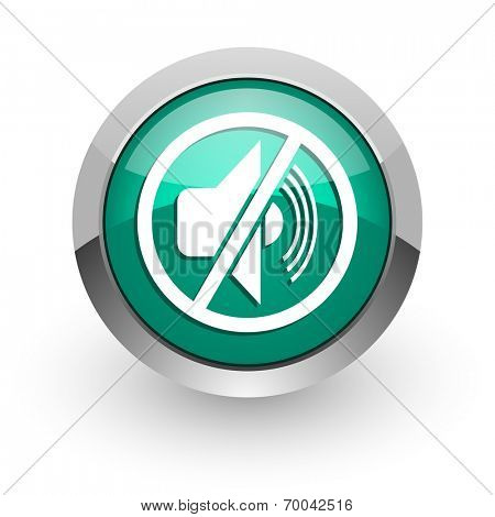 mute green glossy web icon