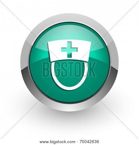 nurse green glossy web icon