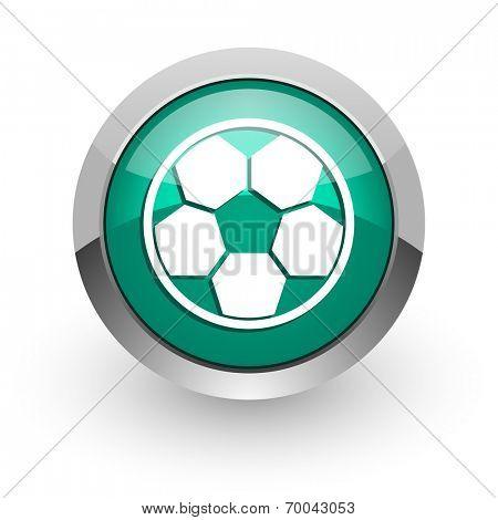 soccer green glossy web icon