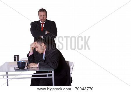 Boss Checking On His Employee With Copy Space