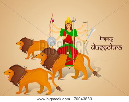 Image of Goddess Durga sitting on her lion with two more lion and give blessing.