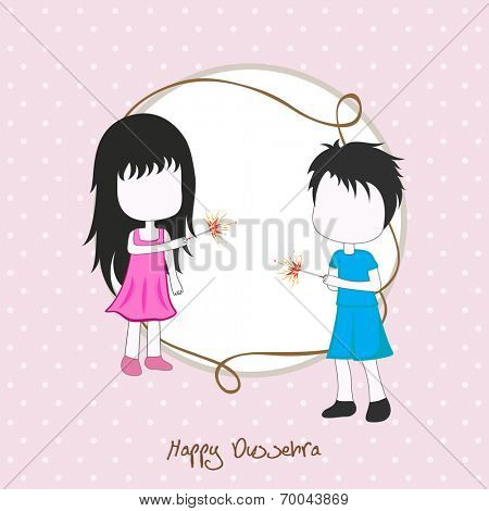 Illustration of two small girls celebrating Dussehra festival by playing with crackers on a dotted pink background with a frame with blank space.