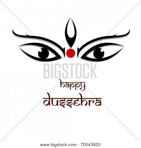 Beautiful illustration of the eyes of Goddess Durga on white background. poster