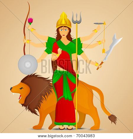 Illustration of Goddess Durga with her six hands holding weapons in each and on lion.