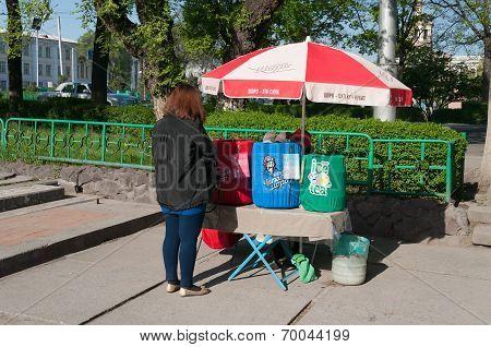 Sale Of National Drinks On The Street In Bishkek