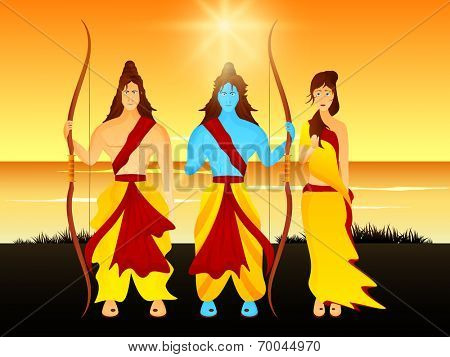 Beautiful picture of Lord Rama holding his bow with his brother Laxman and wife Sita on a sceneric background with sun and river.