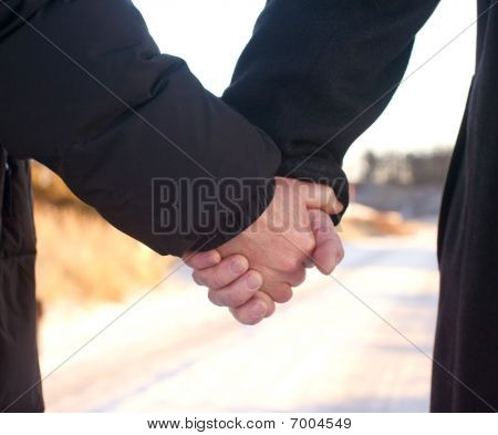 Romance - Old Couple Holding Hands Together