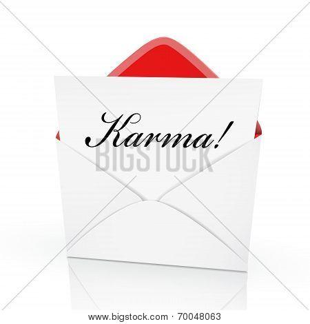 The Word Karma On A Card